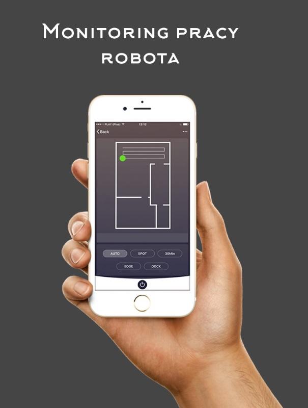 Ekran telefonu z aplikacją do monitorowania pracy robota