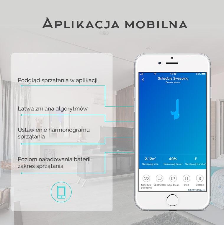 telefon z wyświetlonymi opcjami aplikacji do sterowania robotem