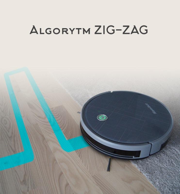 odkurzacz z wyświetlonym schematem poruszania się Zig-Zag
